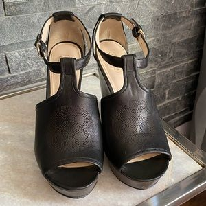 Coach Black Leather Wedges